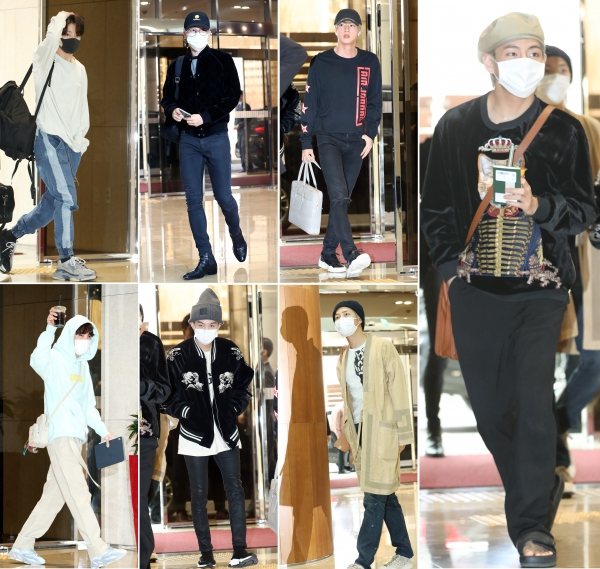 BTS is departing for Thailand for their concert from the Gimpo International Airport in the afternoon of 5 April. From upper left, clockwise Jungkook, Jimin, Jin, V, RM, Suga, J-Hope. 2019.4.5/News 1 © News 1